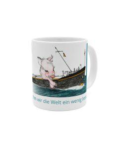 Schiffschwein Spekje, Welt besser machen, Kaffeebecher weiß - türkis