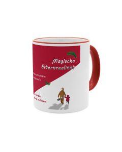 Magische Elternrealität - Weihnachtsmann Smartphone -Kaffeebecher rot - weiss