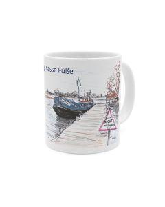 Boot am Steg, Kaffeebecher weiß