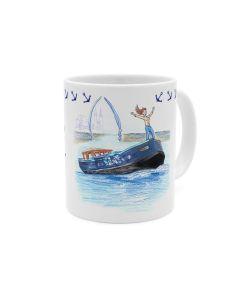 Die große Freiheit ... Schiff / Anker Kaffeebecher weiß-blau